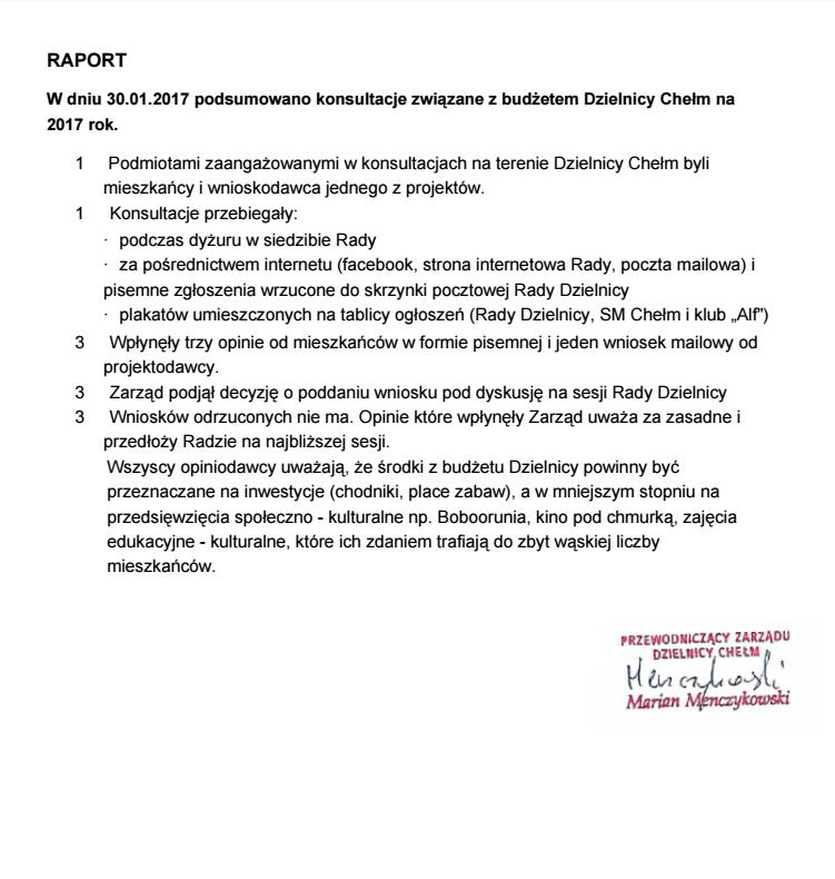 Raport konsultacyjny