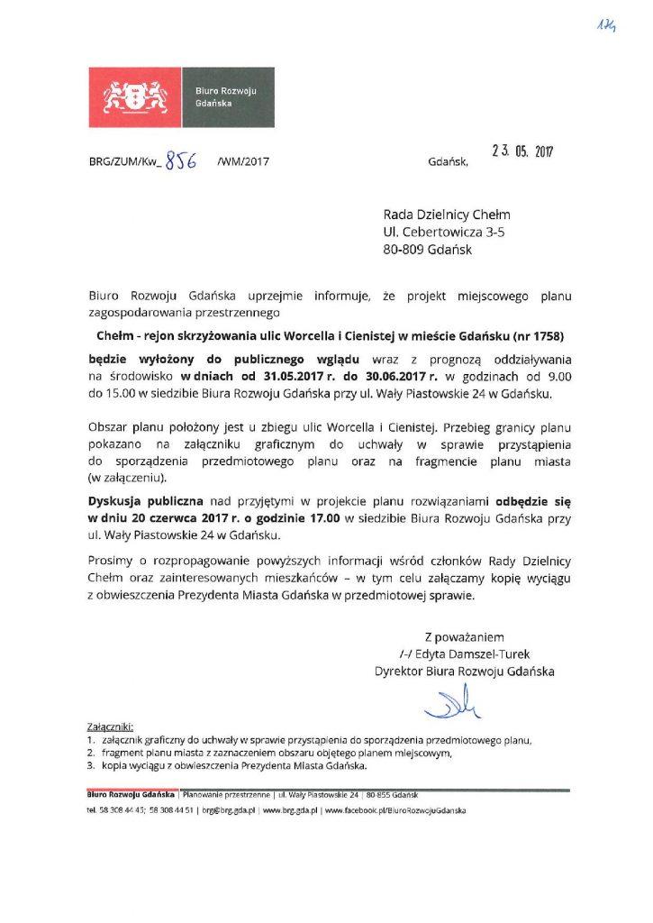 Miejscowy plan zagospodarowania przestrzennego Chełm rejon skrzyżowania ulic Worcella i Cienistej w mieście Gdańsku.