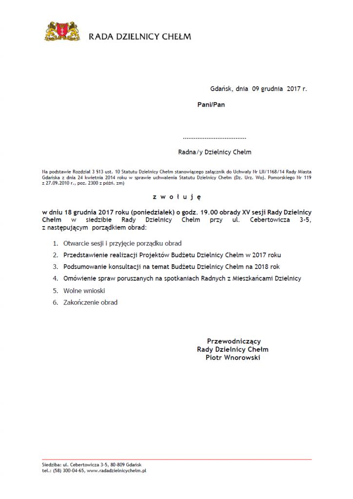 XV sesja Rady Dzielnicy Chełm