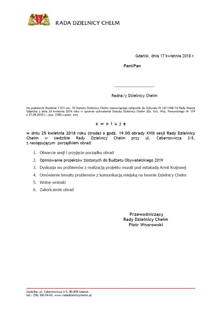 XVIII sesja Rady Dzielnicy