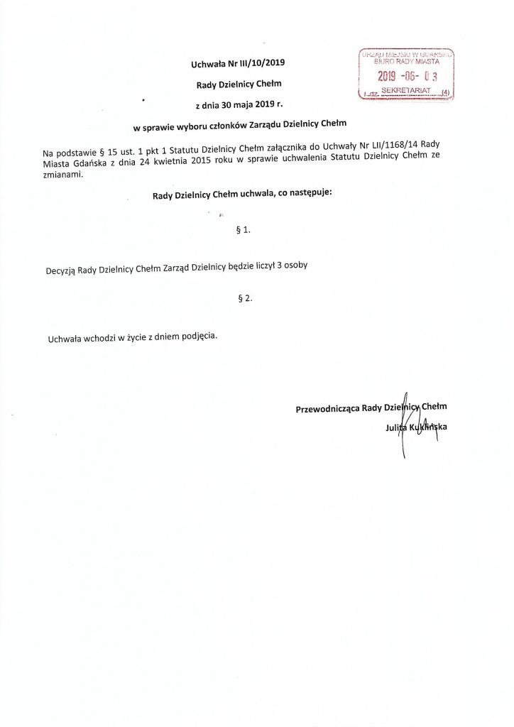 Uchwała nr III/10/2019