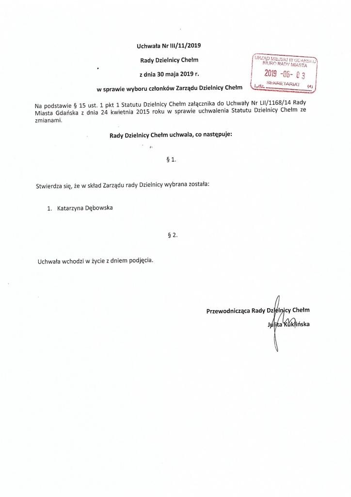 Uchwała nr III/11/2019