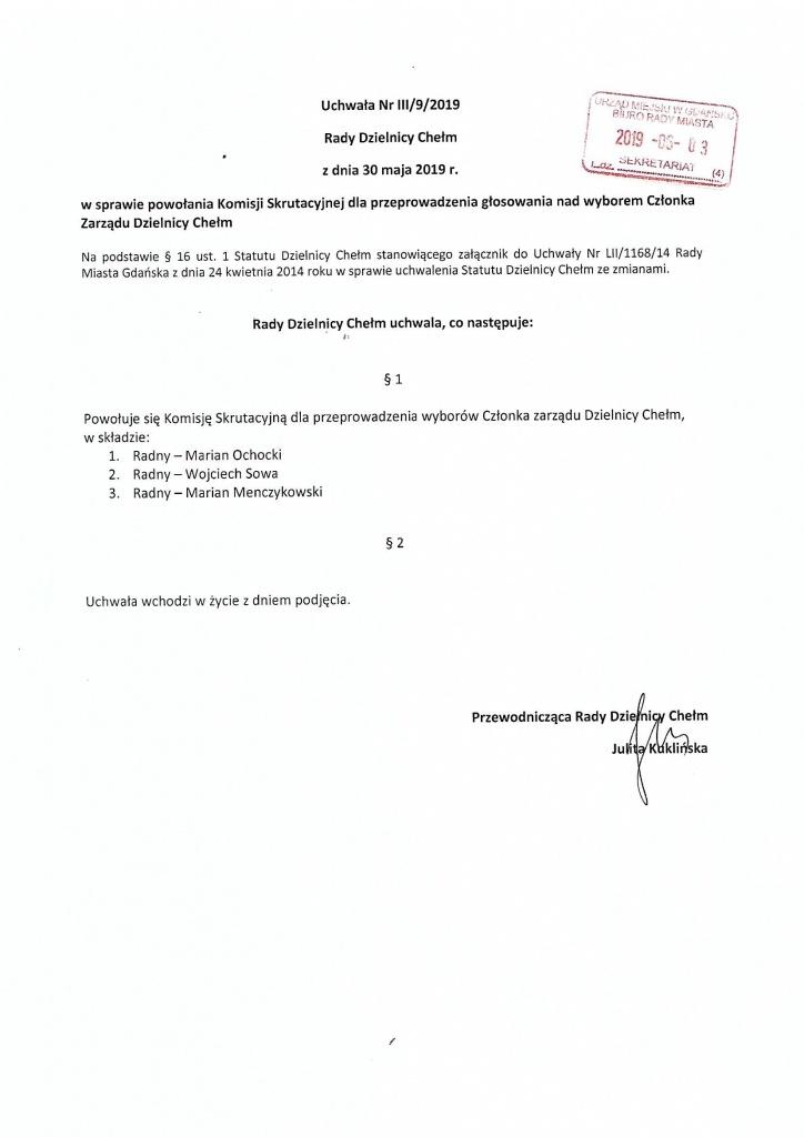Uchwała nr III/9/2019