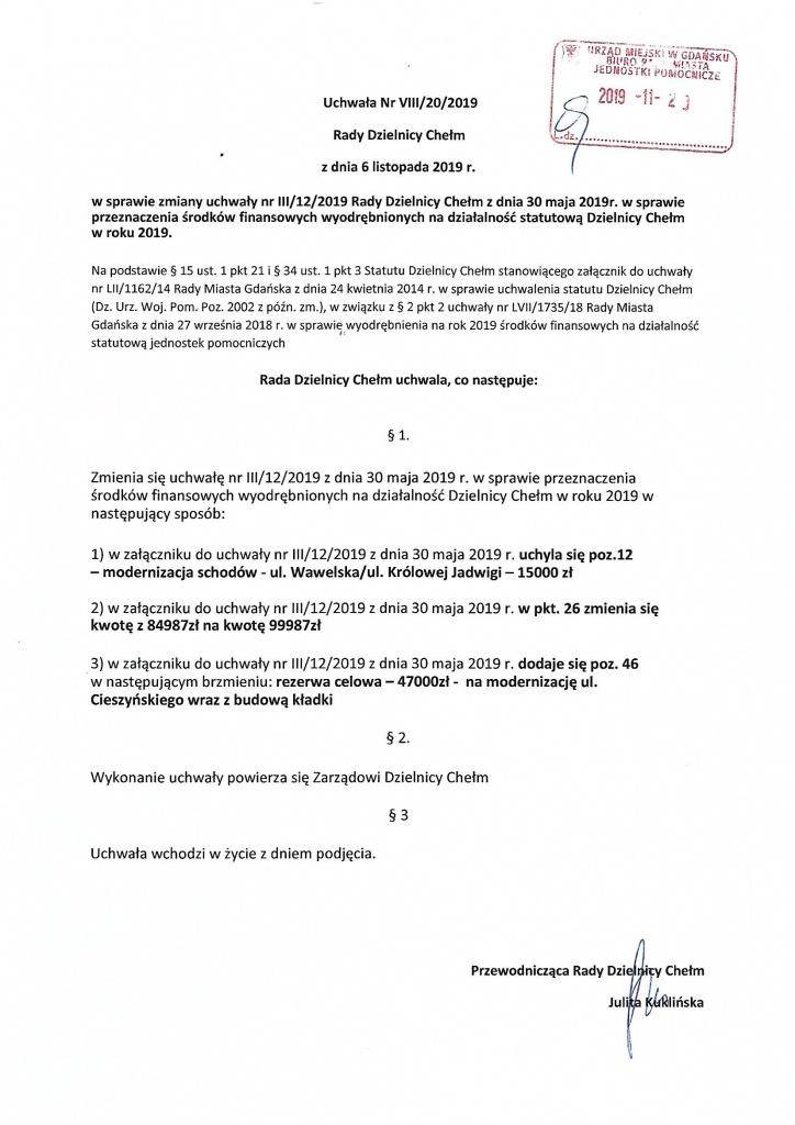 Uchwała nr VIII/20/2019